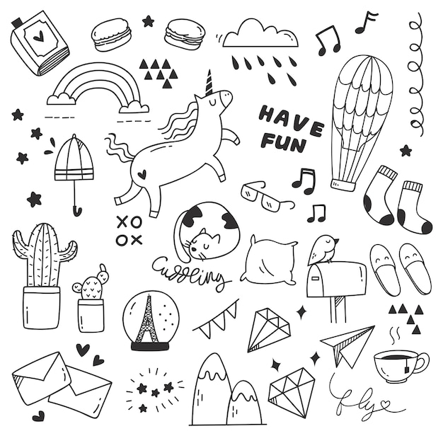 Set of cute doodle Premium Vector