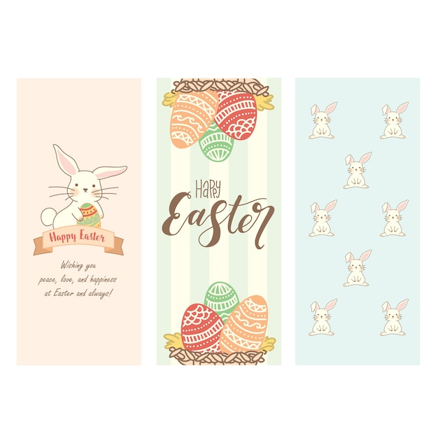 Set of cute easter bunnies and eggs Premium Vector