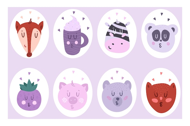 A set of cute eight-piece stickers. vector illustration of animals. Premium Vector