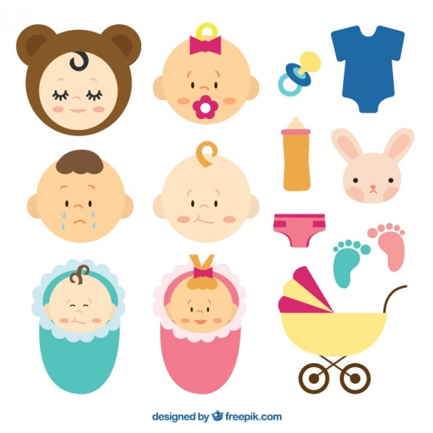 Set of cute elements for your baby Free Vector
