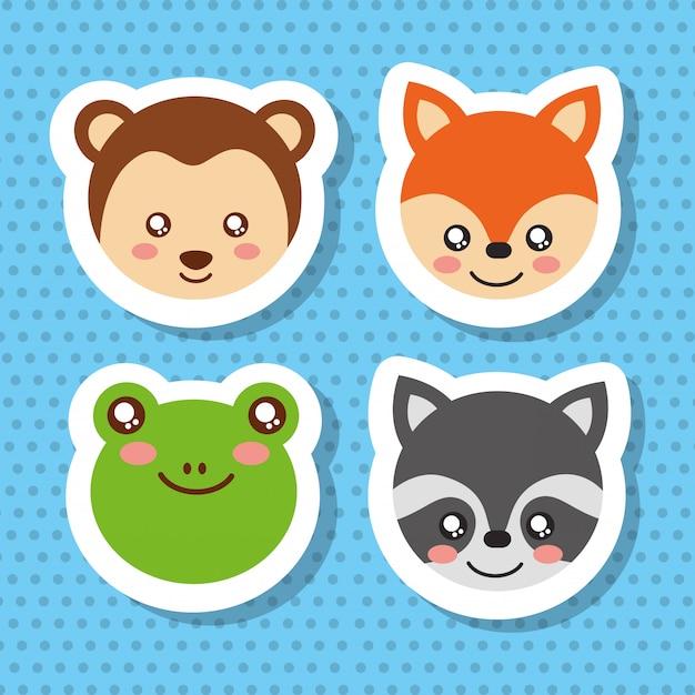 Free Vector Set Cute Face Wildlife Animals