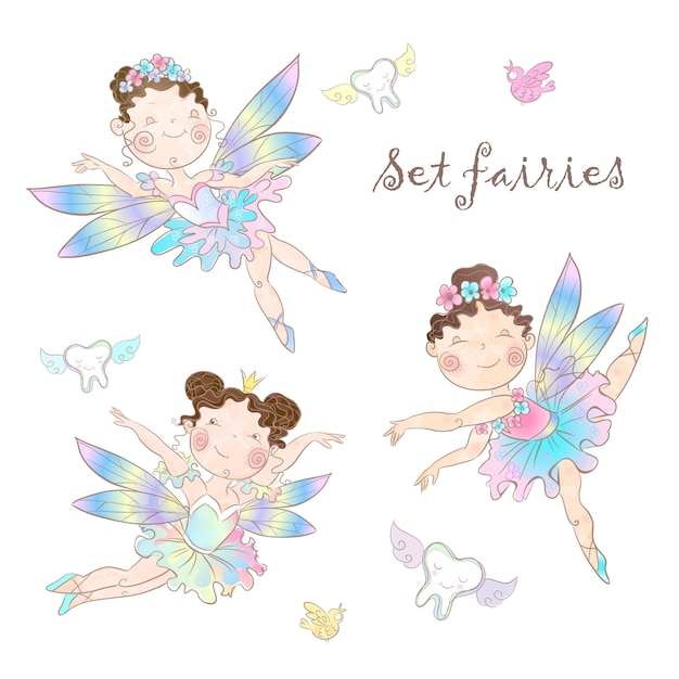Set of cute fairies. Premium Vector
