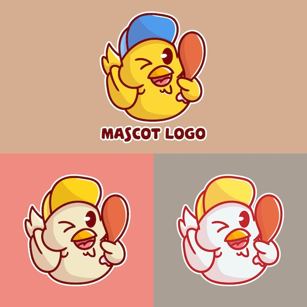 Set of cute fried chicken mascot logo with optional apprearance Premium Vector