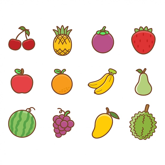 Set Of Cute Fruits For Children And Kids Learning Vocabuary Premium Vector