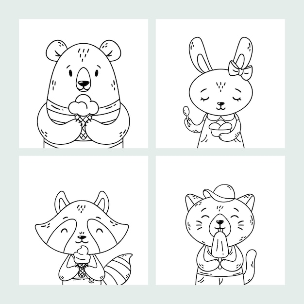 Set of cute funny cartoon summer animals. bear, rabbit, raccoon and cat eating ice cream, licking popsicle, cone. coloring page. black and white art. Premium Vector