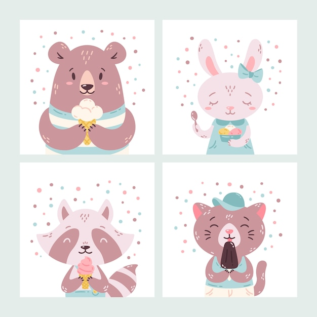 Set of cute funny cartoon summer animals. bear, rabbit, raccoon and cat eating ice cream, licking popsicle, cone. Premium Vector
