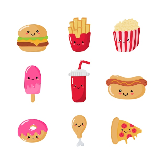 Set of cute funny fast food kawaii style icons isolated Premium Vector