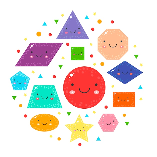 Set cute geometric figures for kids. Premium Vector