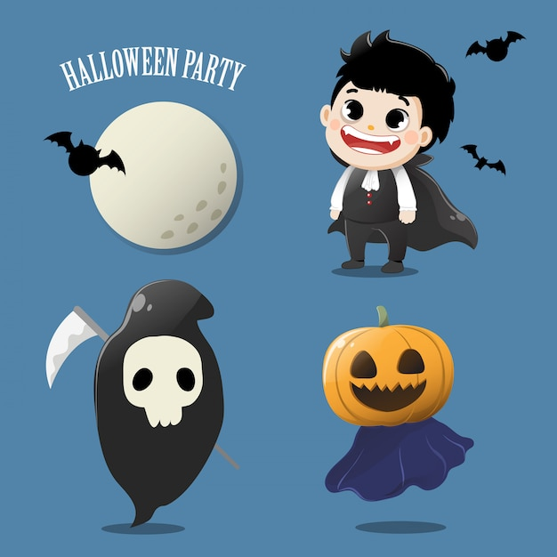 Set the cute ghost in halloween party. Premium Vector