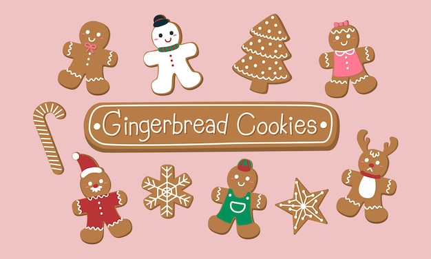 Set of cute gingerbread cookies for christmas. Free Vector