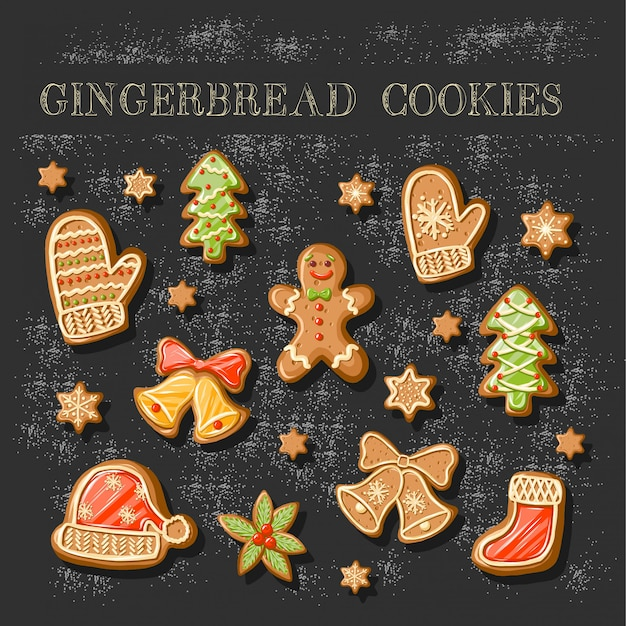 Set of cute gingerbread cookies. Premium Vector