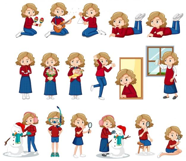 Set di ragazza carina facendo diverse attività Vettore gratuito