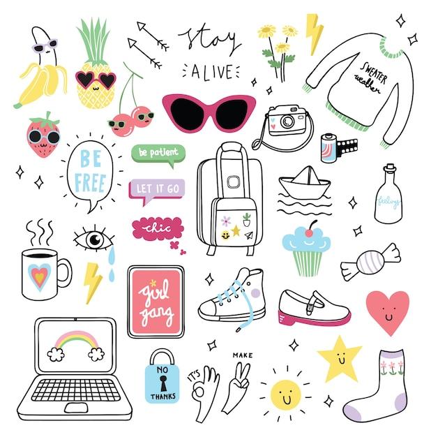 Set of cute girl stuff in doodle style Premium Vector