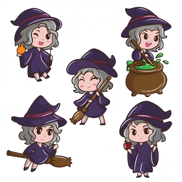 Set Cute Girl In Witch Costume Fairy Tale Cartoon Concept Premium Vector