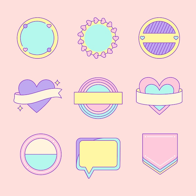 Set of cute and girly badge vectors Free Vector