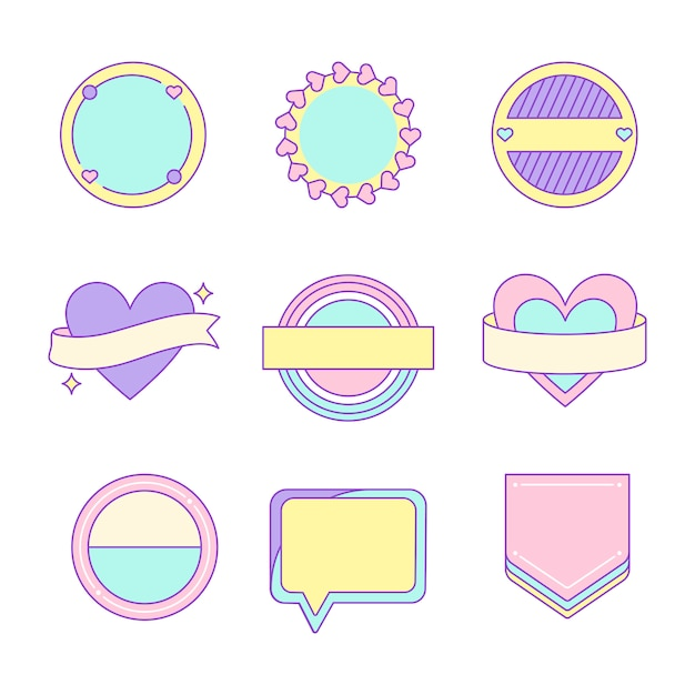 Set of cute and girly badge Free Vector