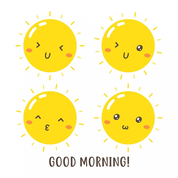 Set of cute good morning sun vector design Premium Vector