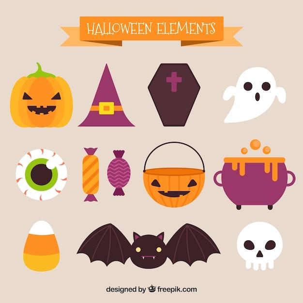Set of cute halloween elements Free Vector