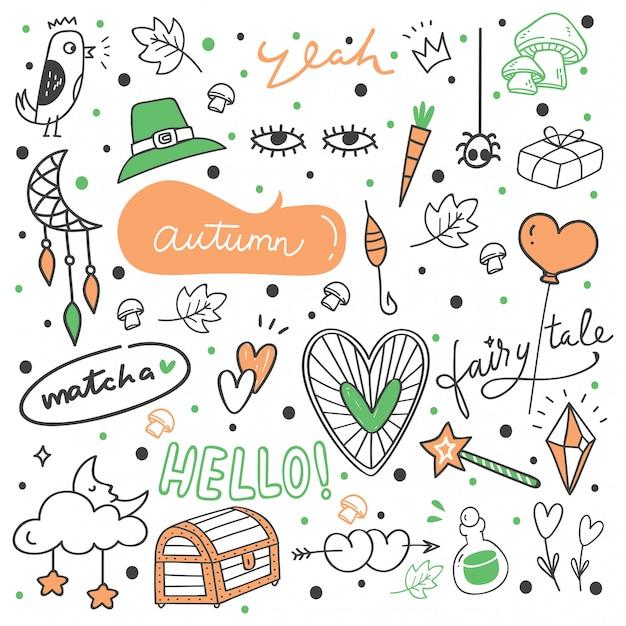 Set of cute hand drawn doodles Premium Vector