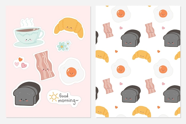Set of cute hand drawn food for breakfast with seamless pattern background . Premium Vector