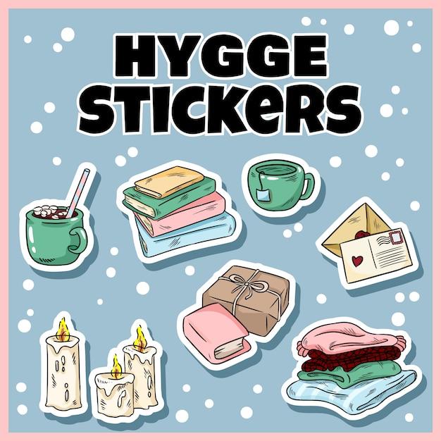Set of cute hygge sticker doodles Premium Vector