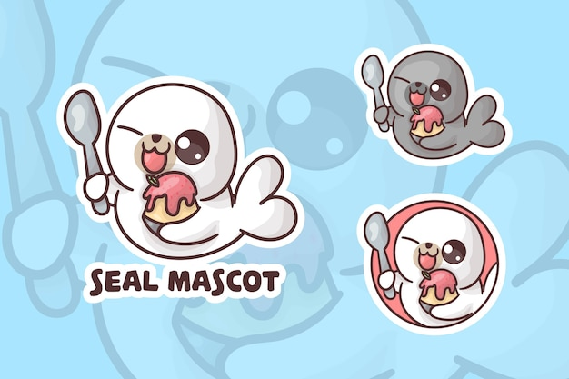 Set of cute ice cream seal mascot logo with optional appearance. Premium Vector