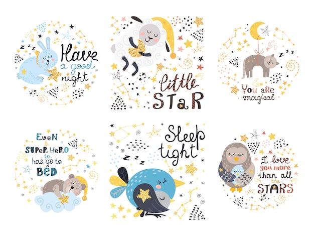 Set of cute illustrations for babies Premium Vector