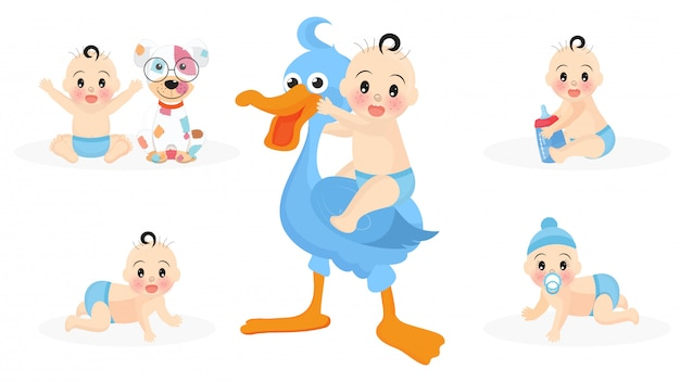 Set of cute infant boy characters with stork Premium Vector