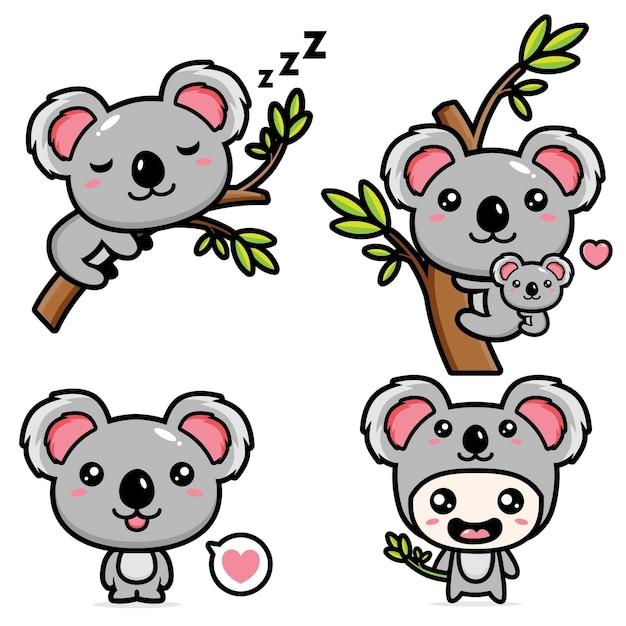 Set of cute koala Premium Vector