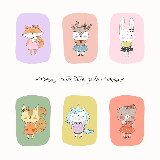 Set of cute liitle animals girls Premium Vector
