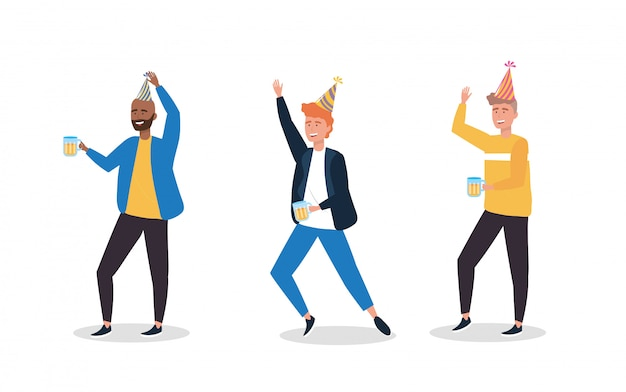 Set of cute men dancing with party hat Free Vector