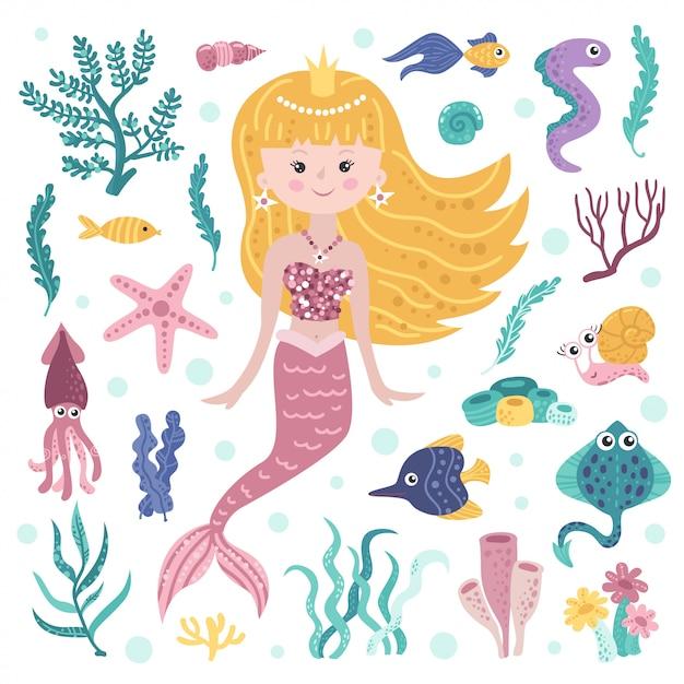 Set of cute mermaid, seaweeds and marine inhabitants Premium Vector