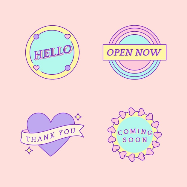 Set of cute messages on badges vector Free Vector