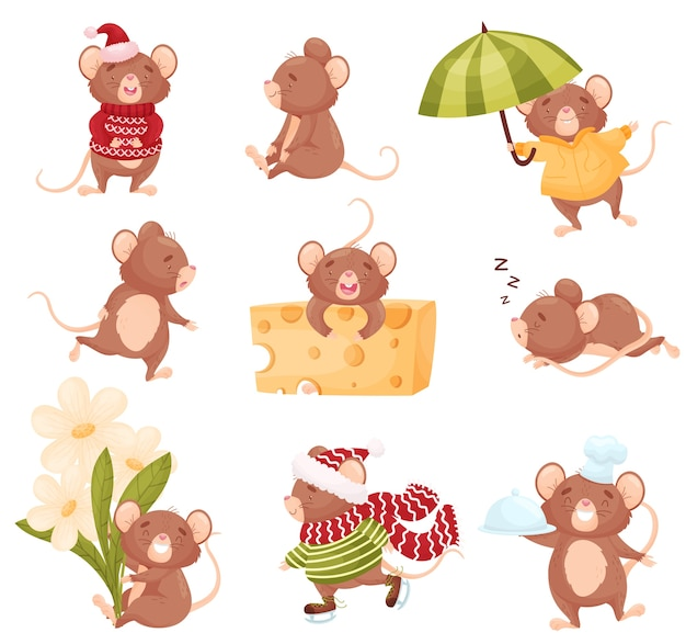 Set of cute mice in different situations Premium Vector