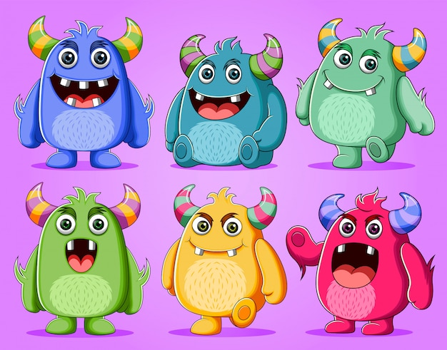 Set of cute monsters character illustration Premium Vector