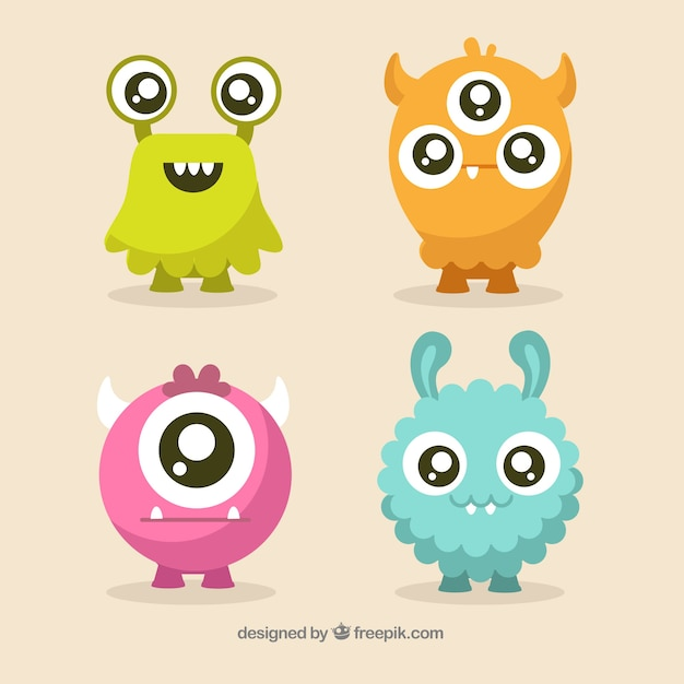 Set of cute monsters character Free Vector