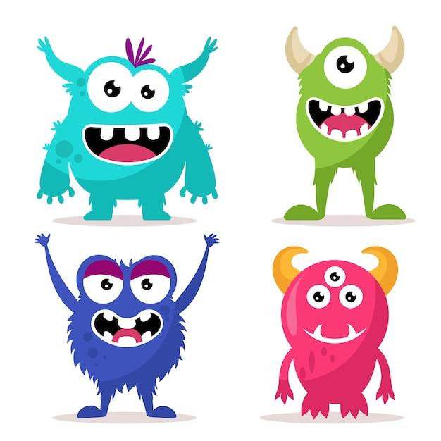 Set of cute monsters character Premium Vector