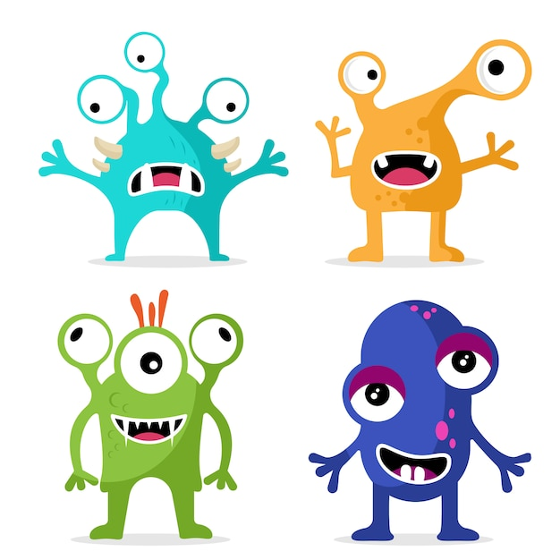 Set of cute monsters character Premium Vector