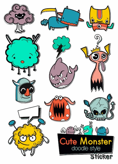 Set of cute monsters in the form of a stickers Premium Vector