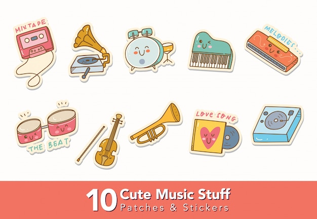 Set of cute music stuff stickers Premium Vector