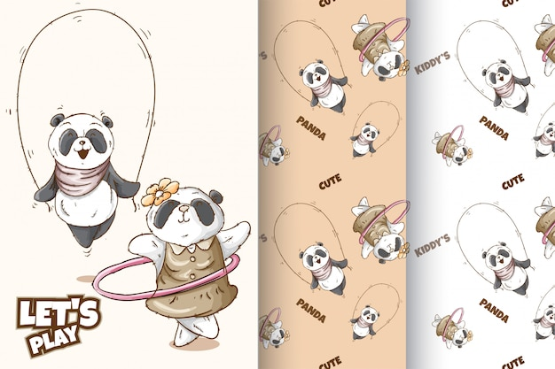 Set cute panda  pattern Premium Vector