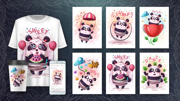 Set cute panda poster and merchandising Premium Vector