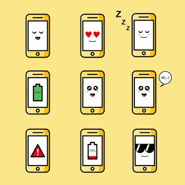 Set of cute phone illustration Premium Vector