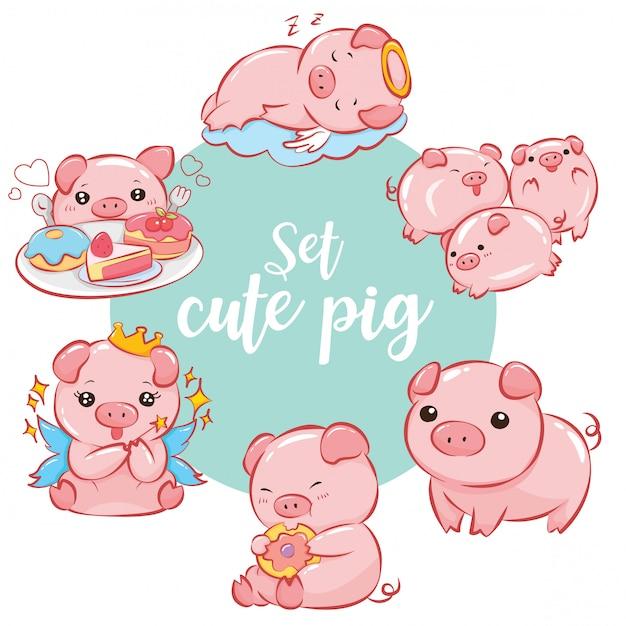 Set cute pig cartoon character Premium Vector