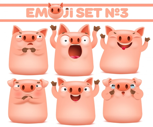 Set of cute pig cartoon emoji characters in various emotions. vector illustration Premium Vector