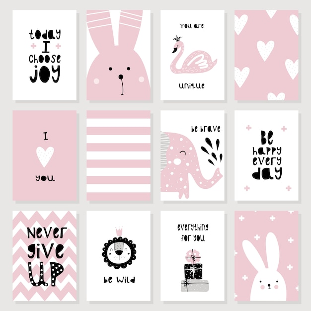 A set of cute pink cards and posters with animals Premium Vector