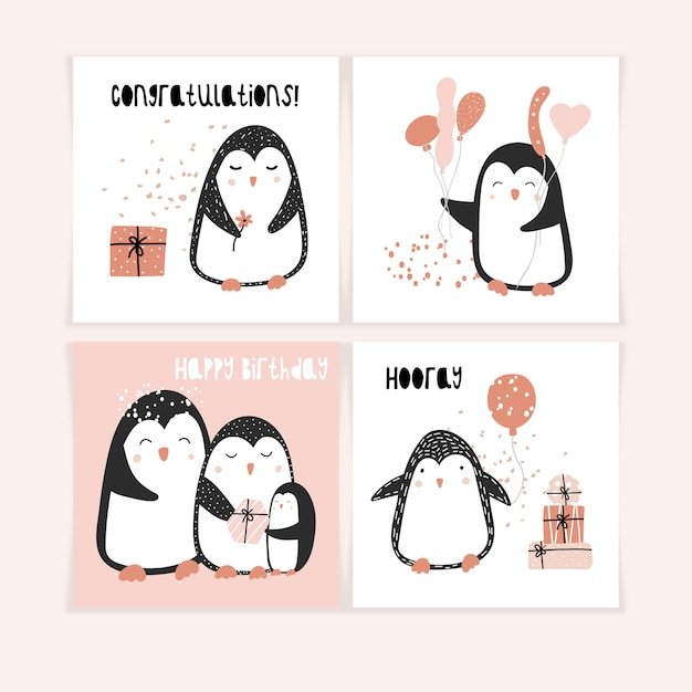 A set of cute postcards with penguins Premium Vector
