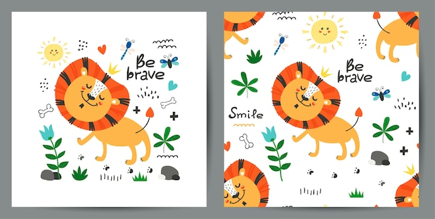Set of cute poster and seamless pattern with lions Premium Vector