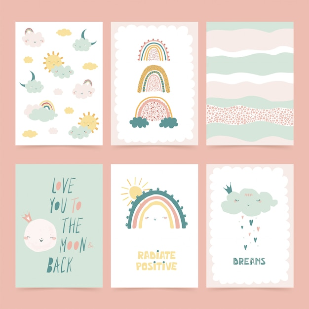 Set of cute posters with rainbow Premium Vector