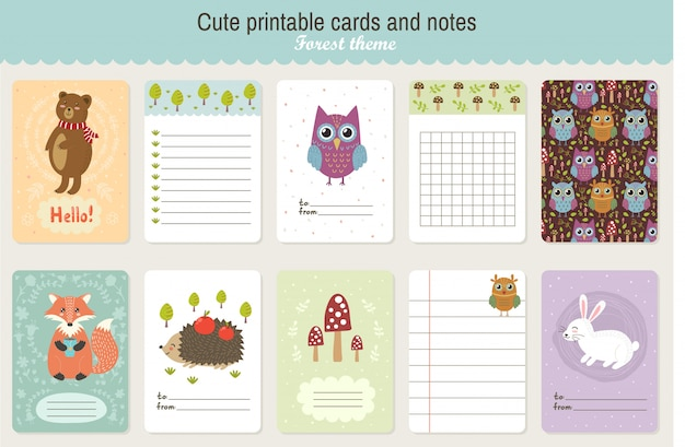 Set of cute printable vector cards and notes. forest theme Premium Vector